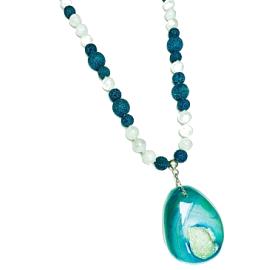 Collar Plata Agatha Verde