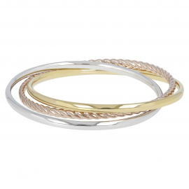 Brazalete Tricolor Shiny Interlocked Soave Oro