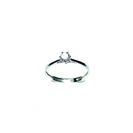 Solitario Oro Blanco 18K Diamante 0,09 ct