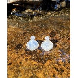 Pendientes Plata 2 en 1 Piedra Luna