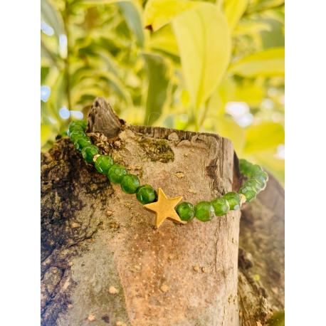 Pulsera Estrella Plata Vermeil Esmeralda