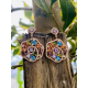 Pendientes Plata IP Rose Circonitas Multicolor
